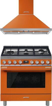 Smeg 930908 2 piece Orange Kitchen Appliances Package