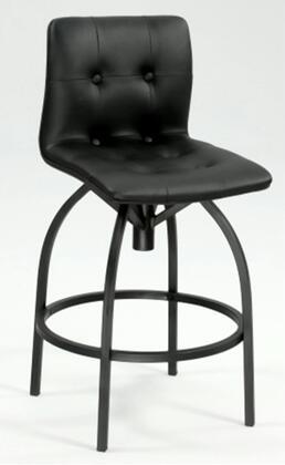 Chintaly 0907 Modern Tufted Upholstered Back Swivel Bar Stool in Black