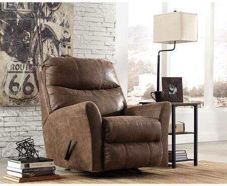 "Flash Furniture Signature Design by Ashley Tullos 37"" Rocker Recliner with Plush Pillow Back, Flared Arms, Metal Frame, Lever Recliner and Faux Leather Upholstery in"