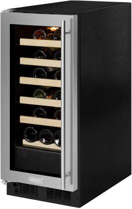 "Marvel ML15WSG0x 15"" Single Zone Wine Cooler with 2.86 cu. ft. Capacity or 23 Bottle Capacity, Vibration Neutralization System, Marvel Prime Controls, in Glass Door with Stainless Steel and"