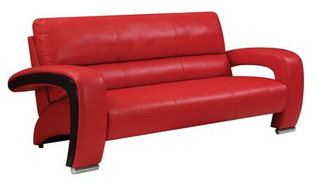 Furniture of America Wezen Faux Leather Sofa CM6412RDSF Red ...