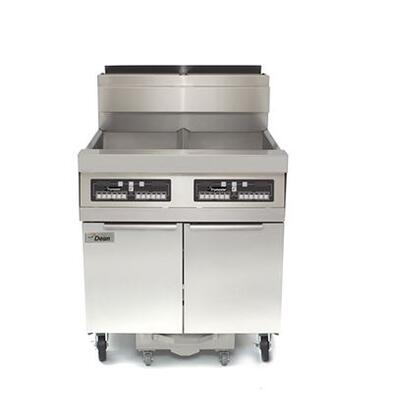 "Dean SCFD550G 78"" Decathlon Commercial Gas Fryer Battery with Built In Filtration, 50Lb Oil Capacity, 120,000 BTU, Thermatron Controller and Wide Cold Zone in Stainless Steel"