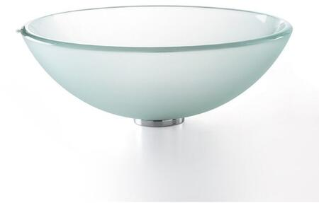 "Kraus CGV101FR1412MM1005 Singletone Series 14"" Round Vessel Sink with 12-mm Tempered Glass Construction, Easy-to-Clean Polished Surface, and Included Riviera Faucet, Frosted Glass"