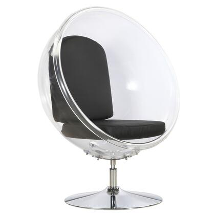 Fine Mod Imports FMI9993BLACK Ball Series Lounge Not Upholstered Acrylic Frame Accent Chair