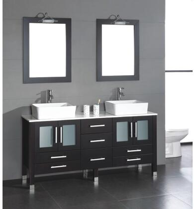 "Cambridge 8119X 63"" Solid Espresso Wood Vanity with Frosted Glass Counter Top and 2 Matching Vessel Sinks. Included: 2 Long-stemmed Faucets"