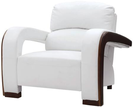 Glory Furniture G427C Faux Leather Armchair with Wood Frame in White