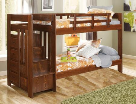 Chelsea Home Furniture 361542X Twin Over Twin Reversible Stair Bunk Bed, with Pine Construction, Rustic Style, and Stain Finished in Dark