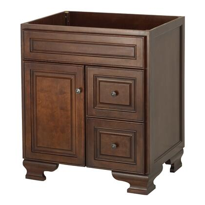 """Foremost HANA x"""" Hawthorne Collection Vanity with Antique Brass Knobs and Full Extension Solid Wood Drawers in a Dark Walnut Finish"""