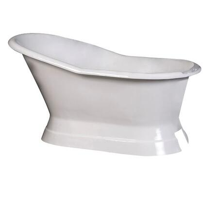 """Barclay CTS7H61B 61"""" Leonardo Cast Iron Slipper Freestanding Tub on Base with Overflow and 7"""" Rim Holes in"""