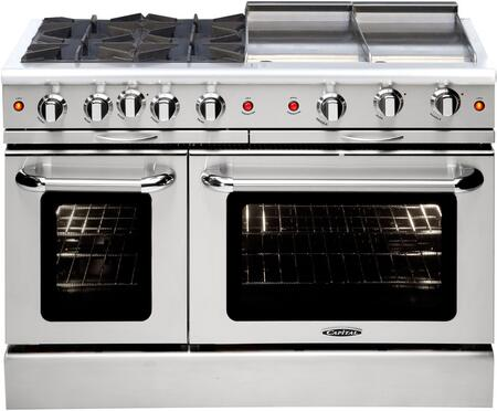 "Capital MCOR484GGN 48"" Culinarian Series Gas Freestanding Range with Sealed Burner Cooktop, 4.9 cu. ft. Primary Oven Capacity, in Stainless Steel"