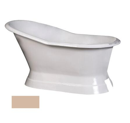 "Barclay CTS7H61B 61"" Leonardo Cast Iron Slipper Freestanding Tub on Base with Overflow and 7"" Rim Holes in"