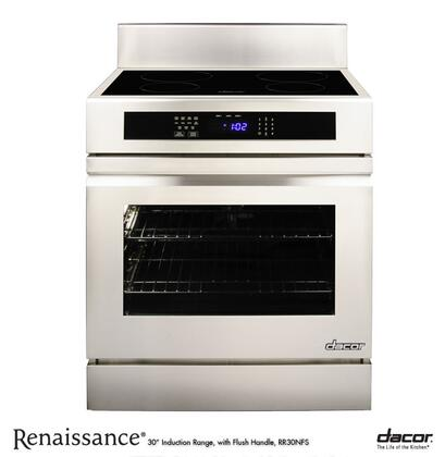 """Dacor Renaissance RR30NXS 4.8 cu. ft. Capacity 30"""" Freestanding Range Induction Range With Four Induction SimmerSear Zones, 6"""" Backguard, Full-Depth Side Panels & In Stainless Steel"""