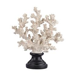 Sterling Coastal Collection Coral on Stand with Round Wood Base in Aged White Finish