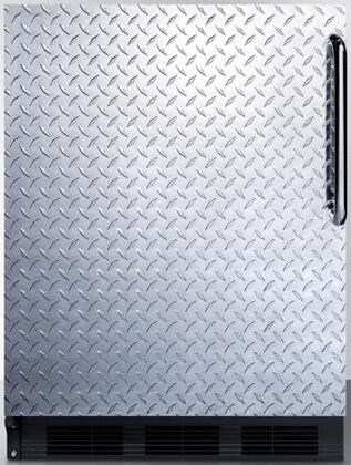 "Summit FF6BBID 24"" 5.5 cu. ft. Built-In Capable Compact Refrigerator With Automatic Defrost, Adjustable Glass Shelves, Adjustable Thermostat, 100% CFC Free: Diamond Plate Door"