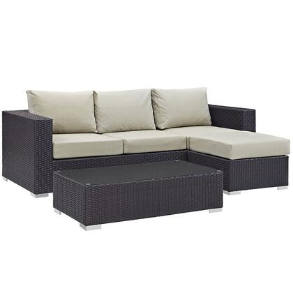 Modway Convene Collection EEI-2178-EXP- 3-Piece Outdoor Patio Sofa Set with Coffee Table, Ottoman and Sofa in