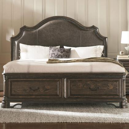 Coaster Carlsbad 204040 Panel Bed with 2 Storage Drawers, Padded Headboard, Distressed Detailing, Solid Wood and Pine Wood Veneer in Vintage Espresso Finish