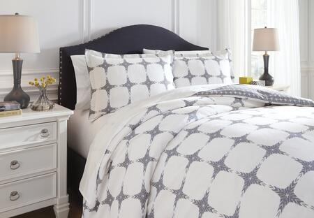 Signature Design by Ashley Cyrun 3 PC King Size Reversible Duvet Cover Set includes 1 Duvet Cover and 2 Standard Shams with Geometric Pattern and Cotton Material in Color