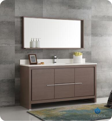"Fresca Allier Collection FVN8119 60"" Modern Bathroom Vanity with Mirror, 2 Soft Closing Drawers and Undermount Ceramic Sink in"