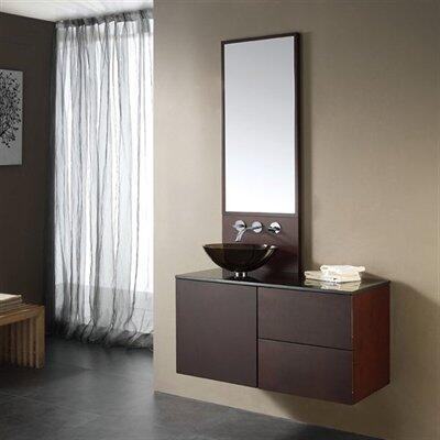 "Avanity CUBE-VS40- Cube 40"" Vanity, with Mirror, Storage Area, Soft Close Doors, and Black Granite Stone Top (Glass Vessel Sink Sold Separately)"