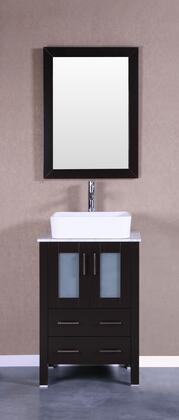 Bosconi Bosconi Vanity Set with Carrara Marble Top, White Rectangle Ceramic Vessel Sink , Faucet and Vertically Mounted Vanity Mirror in Espresso