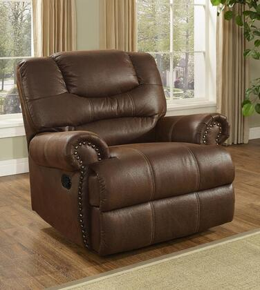 """New Classic Home Furnishings 20-395-13-MO Laredo 44"""" Glider Recliner with Stitching, 100% Polyester Fabric, Hardwood Frame, Fiber Fill Back, Nailhead Trim and Sinuous Spring Support, in Mocha"""