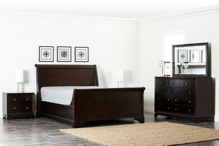 Abbyson Living Plaza HM-5050-5PC-X 5 Piece Sleigh Bed Set Includes Bed, 2 Nightstands, 9 Drawer Dresser, and Mirror with English Dovetail Joints, and Slat Pack for Added Comfort in Dark Brown