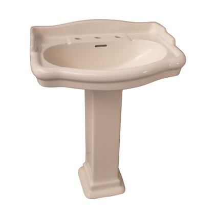 """Barclay 3848 Stanford Collection Vitreous China 660 Pedestal Lavatory with Overflow Drain Widespread 8""""CC:"""