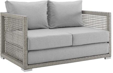 Modway Aura Collection 52 Outdoor Patio Loveseat With Grey