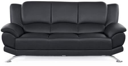 """Global Furniture USA U9908-X-S 80"""" Sofa with Bonded Leather Upholstery, Chrome Metal Legs, Pillow Top Armrests and Tight Back in"""