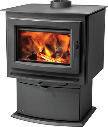 "Napoleon S Series SX 26"" Natural Vent Wood Burning Stove with Up to 55,000-70,000-85,000 BTU's, EPA Certified, Vortex Combustion System, Removable Ash Pan, Pedestal Base and Heat Radiating Ceramic Glass in Metallic Charcoal Finish"