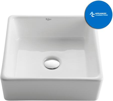 Kraus KCV120X White Square Series Square Ceramic Vessel Sink with Included Pop-Up Drain