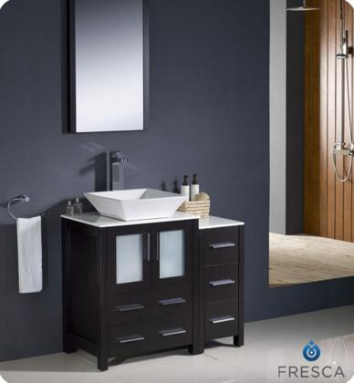 "Fresca Torino Collection FVN62-2412XX-VSL 36"" Modern Bathroom Vanity with Side Cabinet, 4 Soft Closing Drawers and Vessel Sinks in"