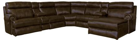 Catnapper Ashton Collection 62056-7-8-7-3- 5-Piece Sectional with Right Arm Facing Power Reclining Sofa, 2x Armless Chairs and Console. Corner Wedge and Right Arm Facing Power Reclining Chaise in Chocolate