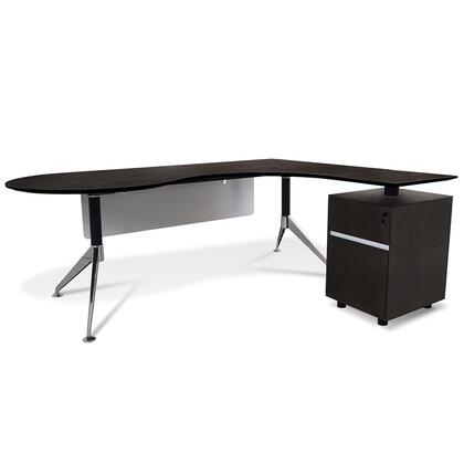 "Unique Furniture 300 Collection 79"" Executive Teardrop Desk with Right Return Pedestal, Adjustable Height, Central Lock, Chrome Steel Base and High Pressure Melamine Material in"