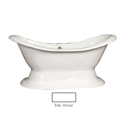 "Barclay CTDS7H72HB Percy 72"" Cast Iron Double Slipper Tub with Cast Iron Pedestal and White Enamel Interior, in"