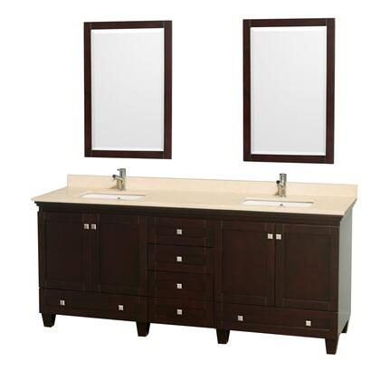 "Wyndham Collection Acclaim 80"" Double Bathroom Vanity with 4 Doors, 6 Drawers, 2 Mirrors, Brushed Chrome Hardware, Ivory Marble Top and Undermount Square Sinks in"
