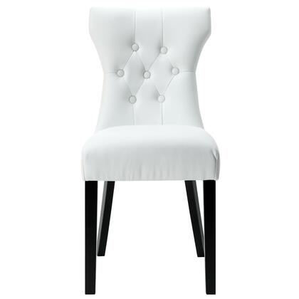 Modway EEI812WHI Silhouette Series Modern Vinyl Wood Frame Dining Room Chair